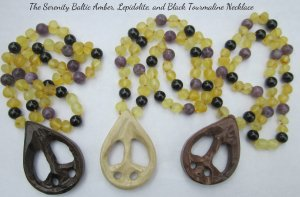 Serenity Baltic Amber, Black Tourmaline, and Lepidolite Peace Sign necklaces