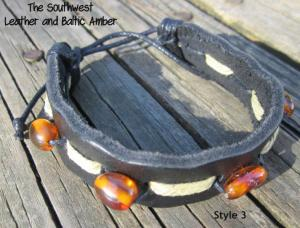 Southwest Baltic Amber and Leather Bracelet